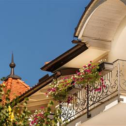 Balcony with flowers in summer