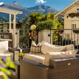 Hotel terrace with furniture in summer