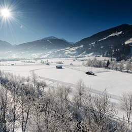 Gastein Valley in winter with bright sunshine