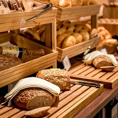Bread and pastries at breakfast buffet
