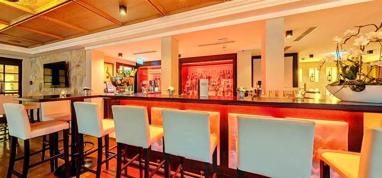 Hotel bar with bar stools