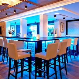 Hotel bar in blue lighting