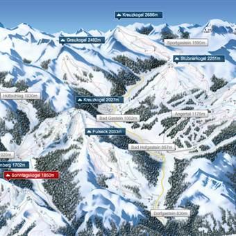 Gastein Plan mit Bergen