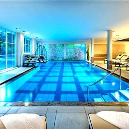 Illuminated hotel indoor pool