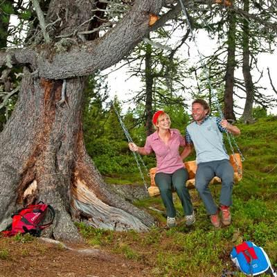 Paar schaukelt bei einem Baum in den Bergen