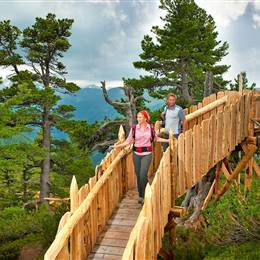 Couple crosses wooden bridge in the mountains